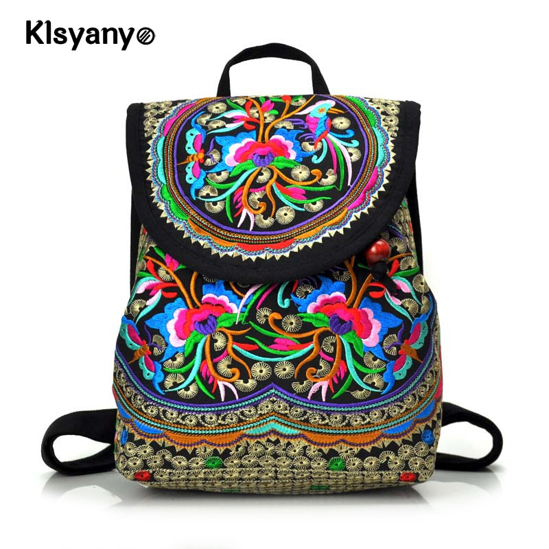 Klsyanyo National Style Vintage Women Embroidery Ethnic Backpack Handmade Flower Travel Shoulder Bag Mochila Large&Small metting joura vintage bohemian ethnic brown seed beads braided knitted flower handmade elastic belt body jewelry