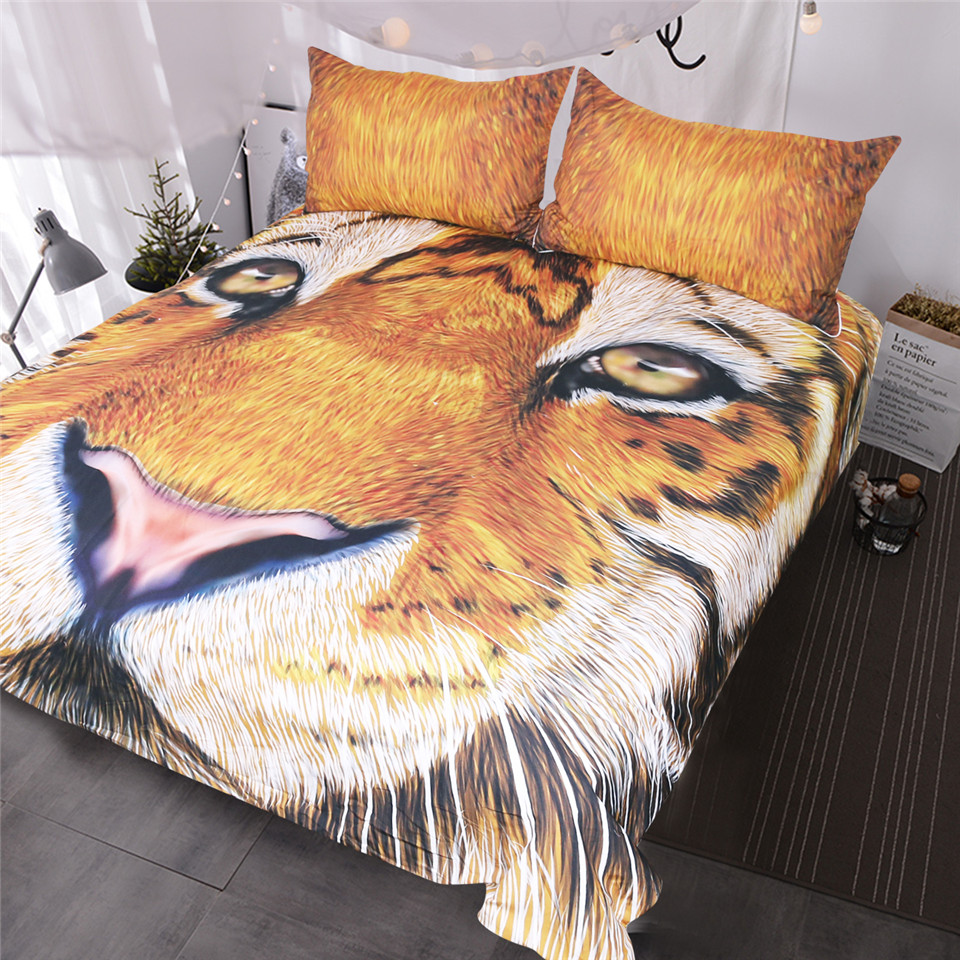 BlessLiving 3D Bed Set Brown Tiger Face Drawing Duvet Cover Teens Kids Vivid Colored Big Cat Wild Animal Bedding Set for AdultsBlessLiving 3D Bed Set Brown Tiger Face Drawing Duvet Cover Teens Kids Vivid Colored Big Cat Wild Animal Bedding Set for Adults