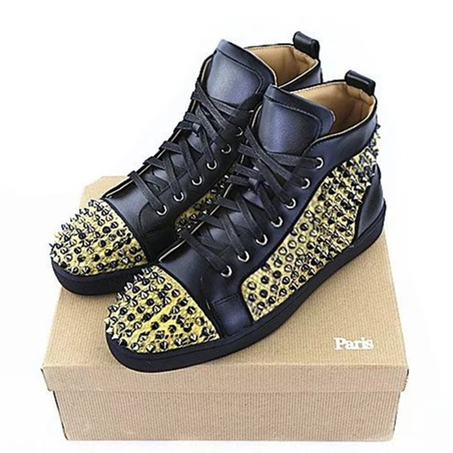 12bbb8d1bee5 2017 Brand Designers Gold Spikes Studded Rivets High Top Men Red Bottom  Flats Casual Shoes LTTL Men Lace Up Trainers Shoes