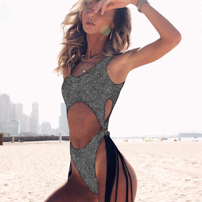 Satu Potong Pakaian Renang Wanita Baju Renang Backless Mandi Perapi Padat Push Up Pantai Lucu Baju Renang untuk Wanita Pinggang Tinggi