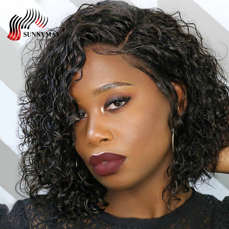 Sunnymay Lace Front Human Hair Wigs Bleached Knots Brazilian Curly Short Bob Wig With Baby Hair For Women