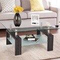 Giantex прямоугольный стол с закаленным стеклом, журнальный столик, боковой стол с полкой, мебель для дома, мебель для гостиной, HW57279BK