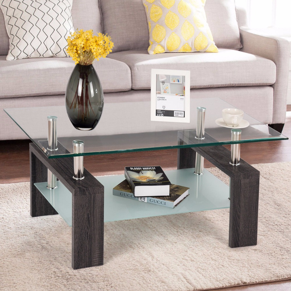 Glass Coffee Tables Furniture Village: Giantex Rectangular Tempered Glass Coffee Table End Side