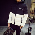 New 2016 winter fashion black and white color blocked cotton padded jacket men slim fit hooded parka hombre men's clothing MF2
