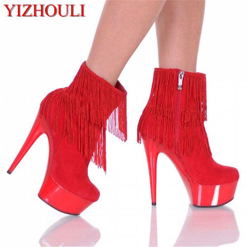 15 cm bottes à talons hauts, bouche de poisson sexy, bottes décorées sexy, chaussures de danse bottes de mode pour femmes