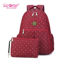 New Brand Shoulder Mummy Bag Multifunction Mother Bag Large Capacity Women's Backpack Bottle Insulation Bags Storage Pocket Red