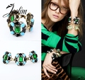 JOOLIM Jewelry Wholesale/Free Shipping 2013 New Fashion Luxurious Emerald Bracelet Design Jewelry