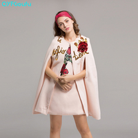 Autumn 2017 Floral Print Womens Casual Sleeveless Party Mini Dresses High Quality Wool Coats Winter Women