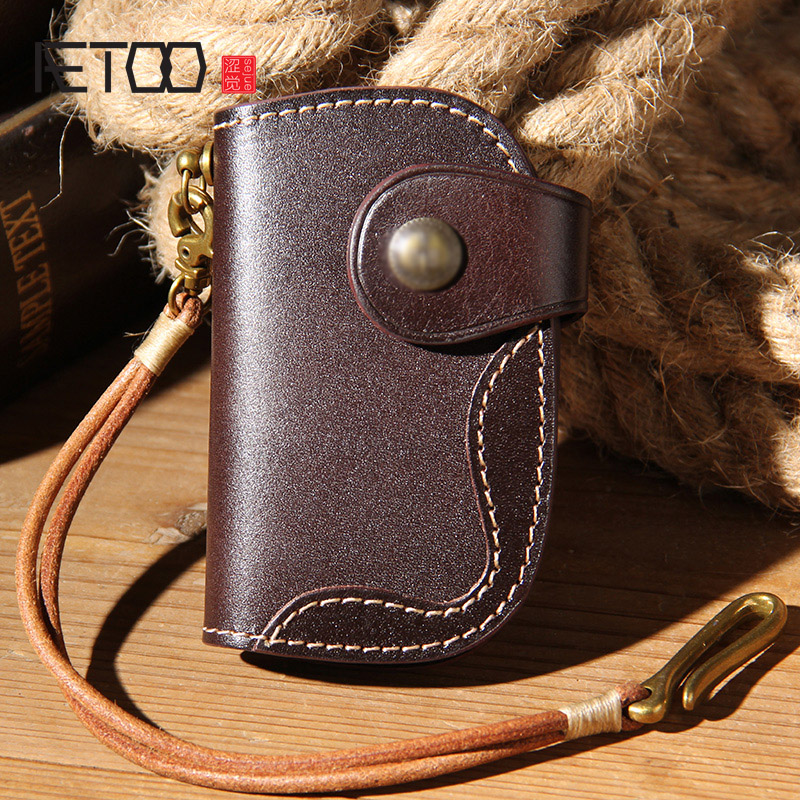 AETOO Hand planted cowhide key bag, men's leather pure copper waist hanging zero wallet, car multi functional key fob