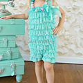 Top Sale Infant Girl Mint Lace Ruffle Pettiromper Fancy Girl Romper Design Jumpsuit Free Shipping