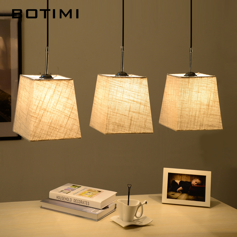 BOTIMI Nordic Dining Light abajur luminaire Hanging Lamp With Triple Lampshades Indoor Lighting Fixture For Kitchen Living Room