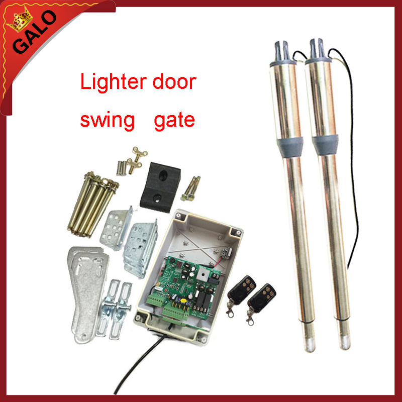 galo DC24V electric automatic swing gate opener motor linear actuator   2 remote control galo 20w 17v solar panel power system linear actuator swing steel wooden gate opener 24vdc motor with infrared beams sonser