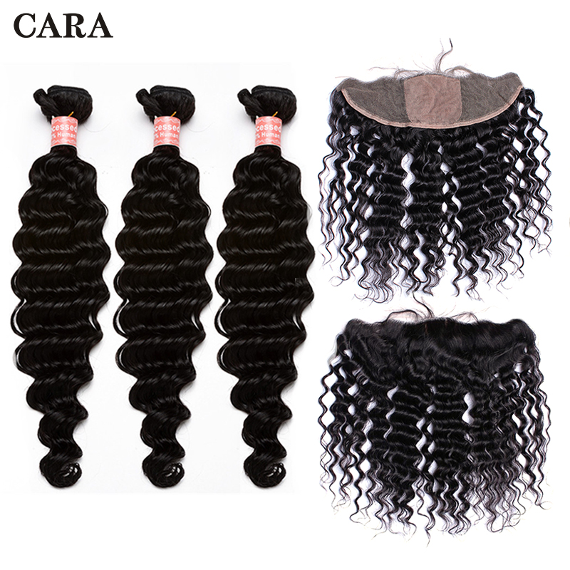 13x4 Silk Base Lace Frontal Closure With Human Hair Bundles 3 Pcs Deep Wave Brazilian Remy Hair Extension CARA Hair Products