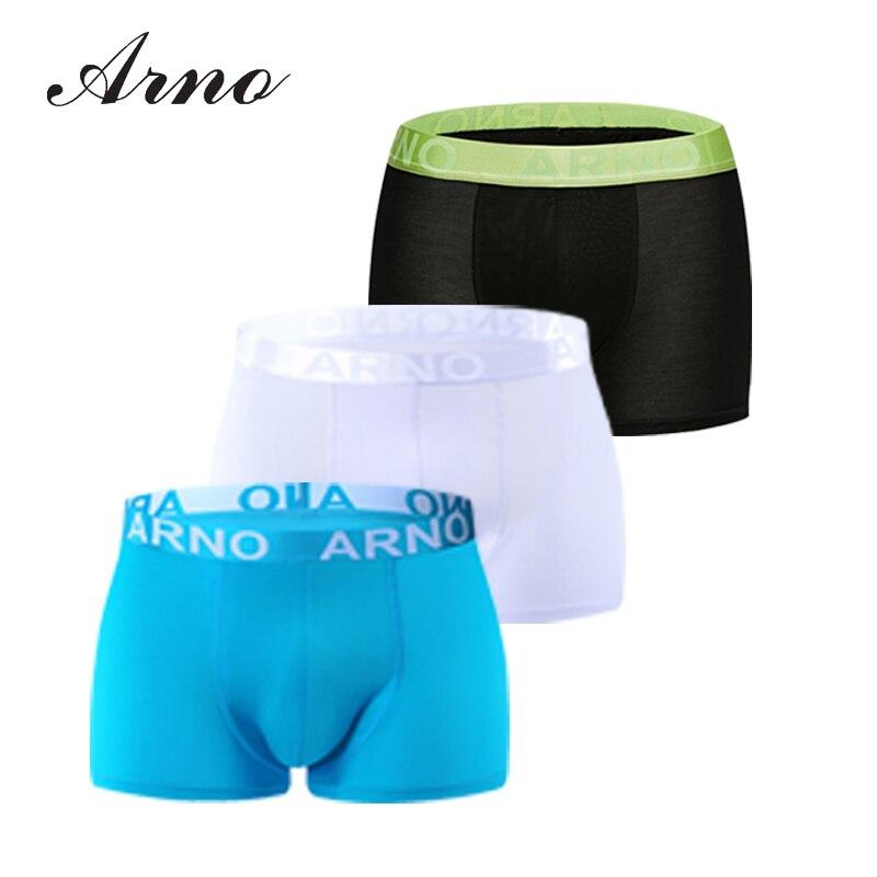 Arno 5pc/lot Wholesale Underwear Men Size M~XXL Sexy Viscose Boxers 6 Colors Men Boxer Soft Breathable Men Underwear,MTU50901-5P
