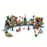 Girl Series Winter Village CHRISTMAS Modular Creator Santa Reindeer Train Building Bricks Blocks Toys Compatible With Legoing