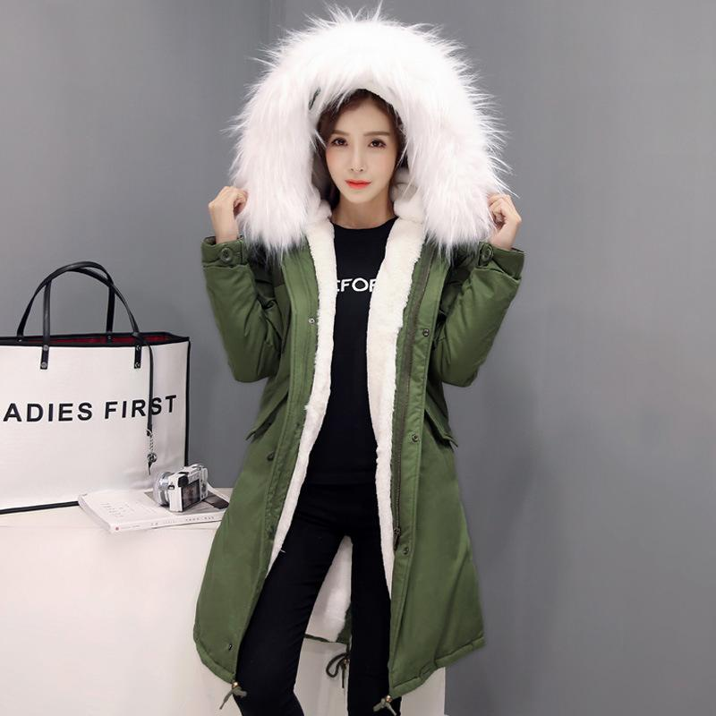 2017 Women Winter Warm Big Fur Collar Long Coats Cotton-padded Solid Thicken Outerwear Ladies Casual Hooded Down Cotton Jackets 100% white duck down women coat fashion solid hooded fox fur detachable collar winter coats elegant long down coats