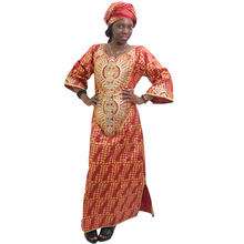 MD 2019 south africa dress for women bazin riche dashiki dresses african clothes embroidery pattern print headwrap