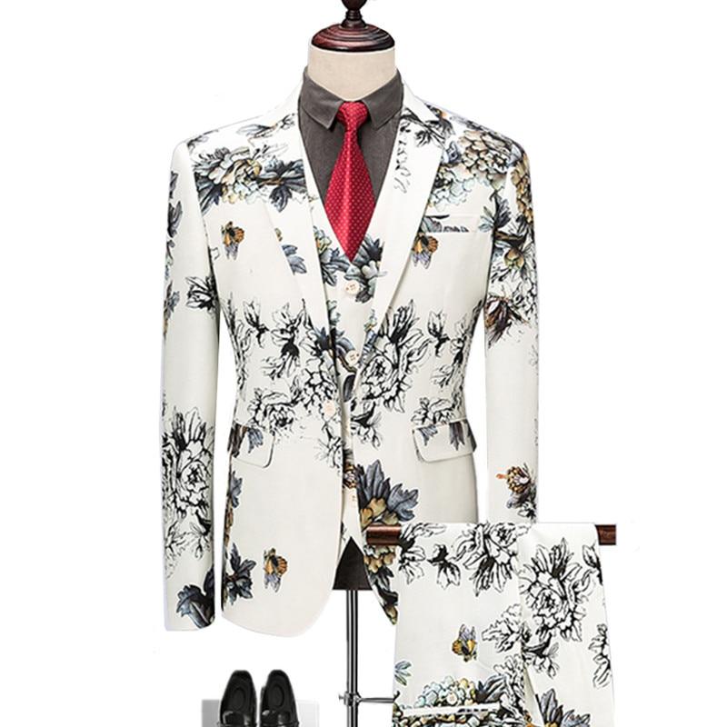 Blazers Pants Vest Sets / Fashion Men's Casual Boutique flower Floral Print Suit jacket coat trousers waistcoat 3 pieces suits