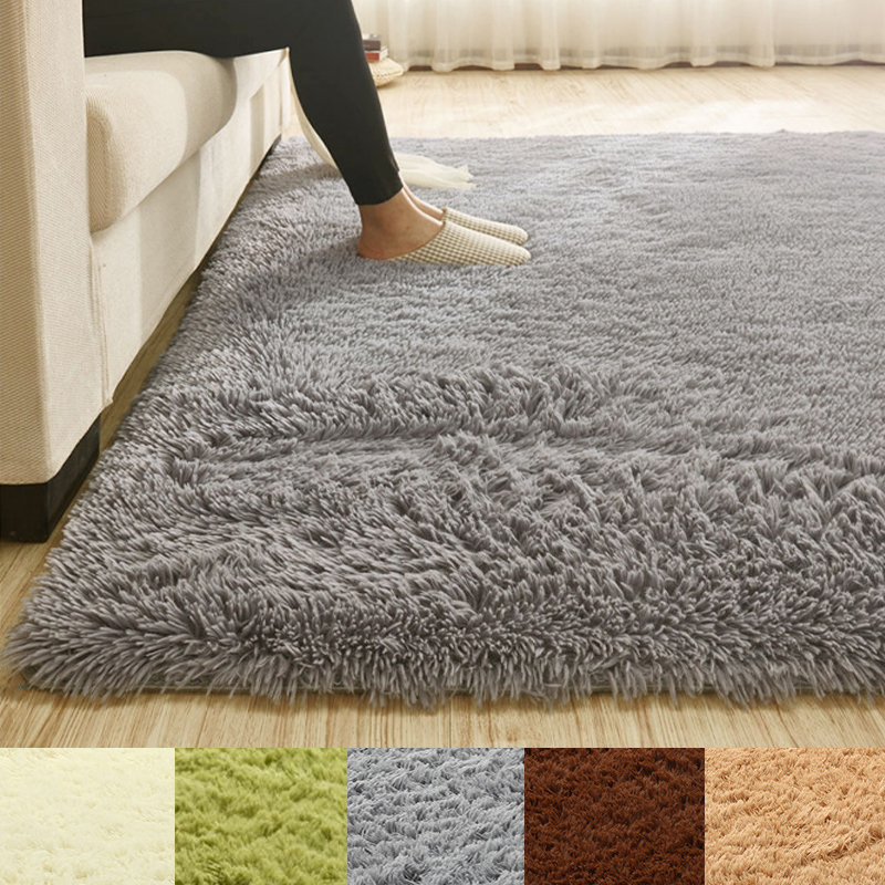 Super Soft Fluffy Anti-Skid Shaggy Area Rug Dining Room Bedroom Bathroom Carpet Floor Mat Home Decor