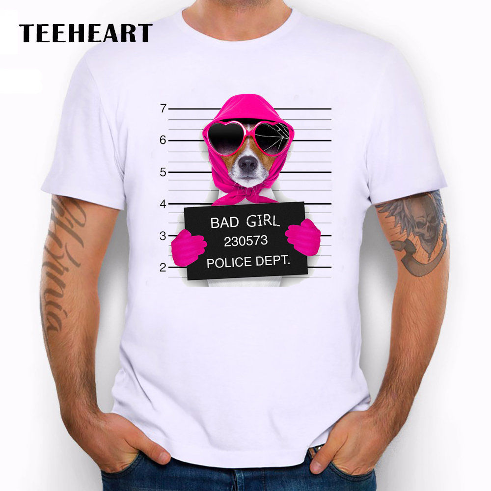 Wanted Bad Dogs Mugshot Miss Beagle Pink Gloves Funny Joke Men T Shirt Tee