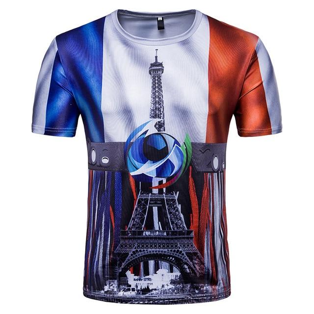 9bfef3b4b 2018 Russia World Cup France Team Short Sleeve Print T-Shirt Casual Tee  Shirt