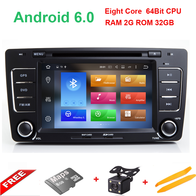 Android 6 0 Two Din 7 Inch Car DVD Player For SKODA Octavia 2009 2013 Canbus