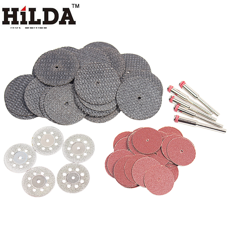 HILDA Diamond Cutting Disc Grinding Wheel With Mandrel for Mini Drill Rotary Tool Accessories Circular Saw Blade Woodworking 10 60 teeth wood t c t circular saw blade nwc106f global free shipping 250mm carbide cutting wheel same with freud or haupt