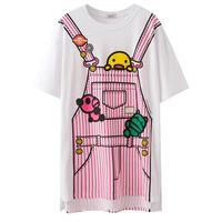 2017 Zomer Koreaanse Cartoon Katoen T-shirts Half Mouw T-Shirt Kawaii Meisjes Losse Tops Studenten Leuke Plus Size Shirts