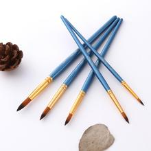 Hot 5Pcs Artist Painting Tool Wooden Brushes Set for Oil Watercolor Acrylic Drawing Brushes Set Tool