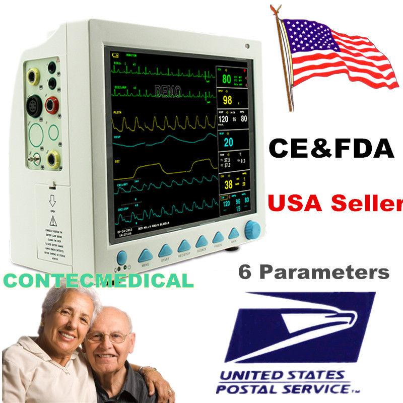 US seller ICU CMS8000 Patient Monitor 6 parameter Vital Sign ECG NIBP RESP TEMP SPO2 Pr gpyoja 2016 hot selling multi parameter ecg nibp spo2 pr temp resp tablet patient monitor