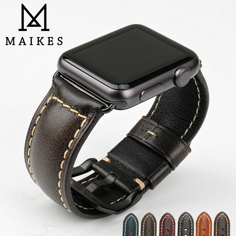 MAIKES Genuine leather watch bracelet accessories for apple watch strap 38mm black apple watch band 42mm iwatch watchbands maikes 18mm 20mm 22mm watch belt accessories watchbands black genuine leather band watch strap watches bracelet for longines