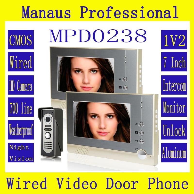 Best Magnetic Lock One To Two Video Doorphone Device Hot Selling 7 Inch Screen Display Outdoor Video Door Intercom System D238b