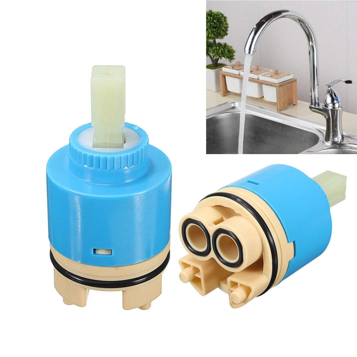35//40mm Ceramic Cartridge Fittings Mixer Tap Valve Clear Body Shower Room Faucet