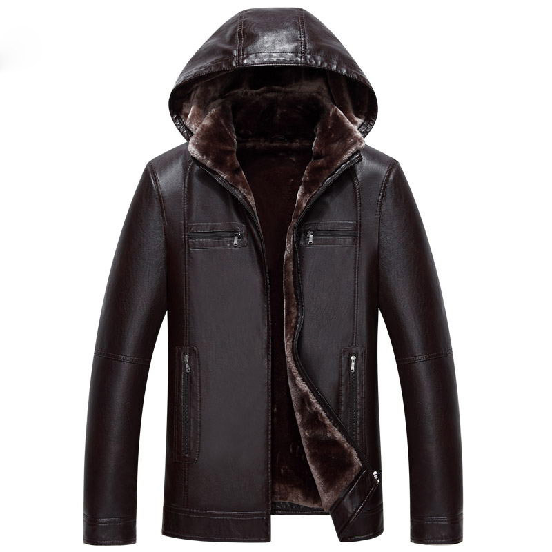 Suitable For Men's Fur One Leather Men's Long Hooded Leather Jacket 2018 Winter Imitation Fur Jacket More Size M-XXXL 4XL 5XL