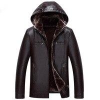 Suitable for Men's Fur one Leather Men's long Hooded leather jacket 2018 Winter Imitation Fur jacket More size M XXXL 4XL 5XL