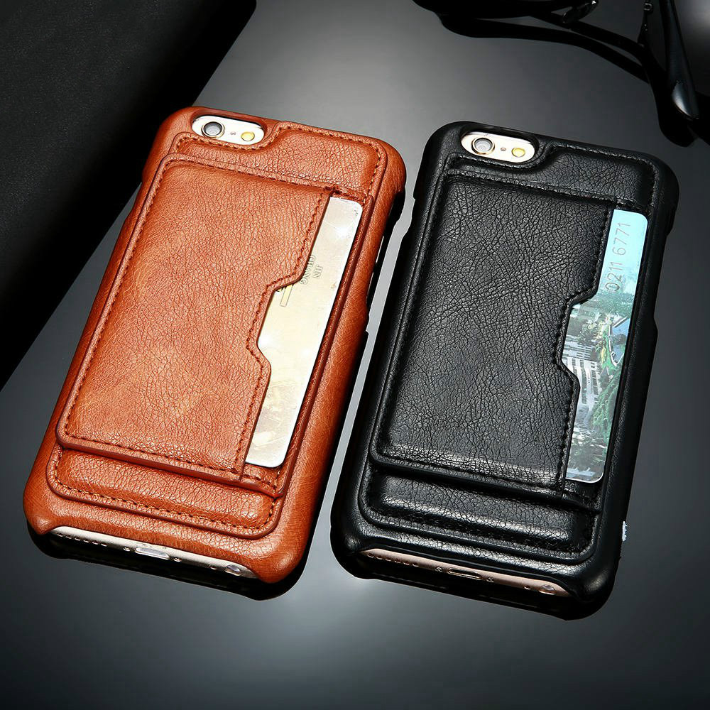 Card Holder Phone Bag Case For iPhone 7 8 6S 6 Plus Luxury Smooth PU Leather Slot Stand Support Phone Case For iPone 6 7 8 Cover