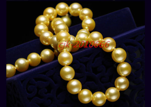 "Hot selling free shipping******round AAAAA 17""10-11mm REAL south sea NATURAL golden pearl necklace 14k Gold"