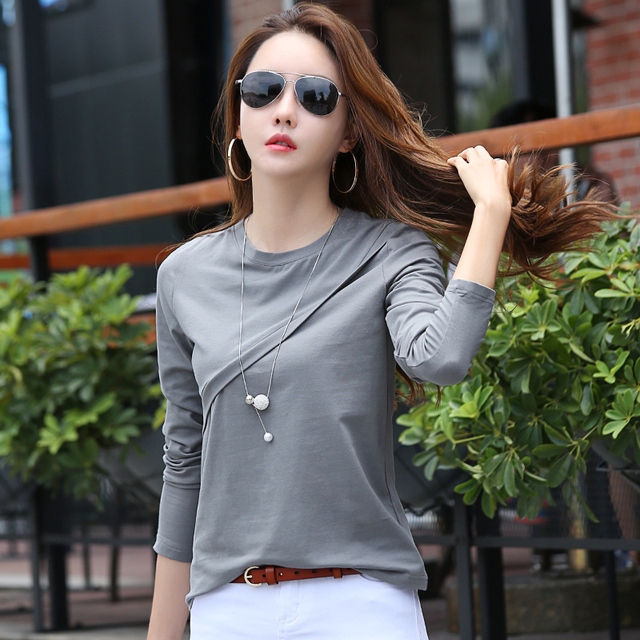 Autumn Winter T Shirt Women Long Sleeve Cotton T-shirts For Women Solid Color Casual Top Tee New Design Female T-shirt Camisetas