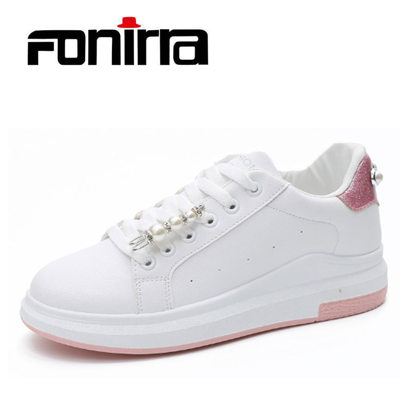 FONIRRA Summer NEW Platform Women Sneaker Shoes Fashion White Lace Up Casual Women Shoes Comfortable Flat Shoes For Ladies 090 cheap hot women shoes 2018 summer women flat white shoes comfortable breathable super soft pu leather lace ladies casual shoes