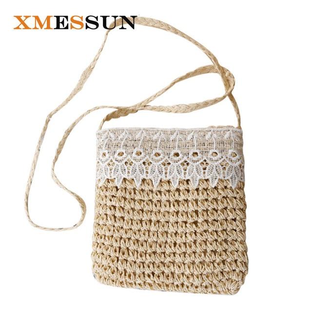 Xmessun Summer Lace Handmade Straw Handbags Women Messenger Bag Beach Knitting Las Shoulder Crossbody