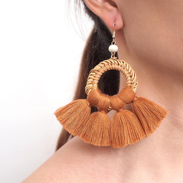 Rattan Tassel Earrings