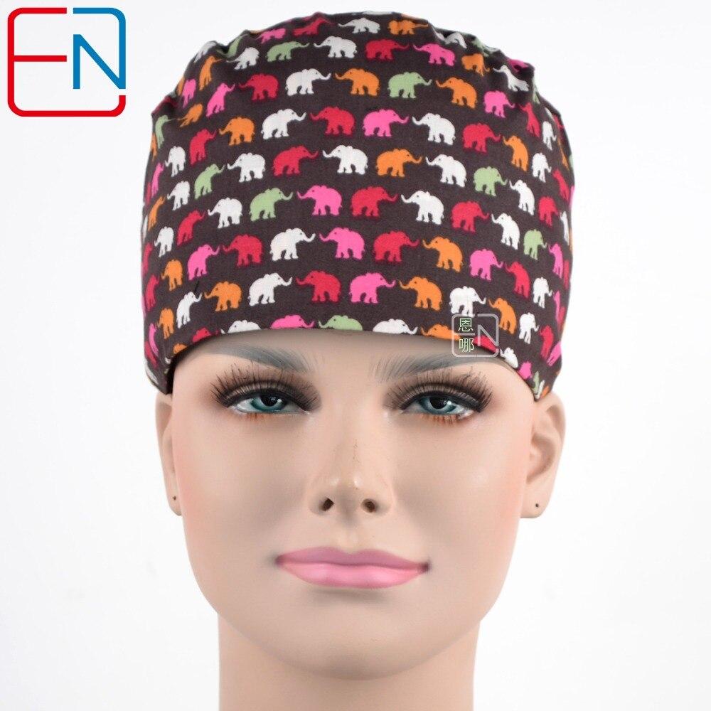 Hennar női sebészeti sapka maszkok állítható verejtékkel 100% pamut orvosi sapkák orvos nővér pamut nyomtatás bozót sapkák