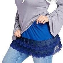 Большие размеры многослойная Прозрачная кружевная отделка женская модная юбка вечерние летние пляжные юбки с высокой талией Женская облегающая юбка в стиле бохо