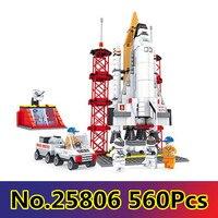 CX 25806 560Pcs Model building kits Compatible with Lego Space Ship Shuttle Launching Base 3D Bricks figure toys for children