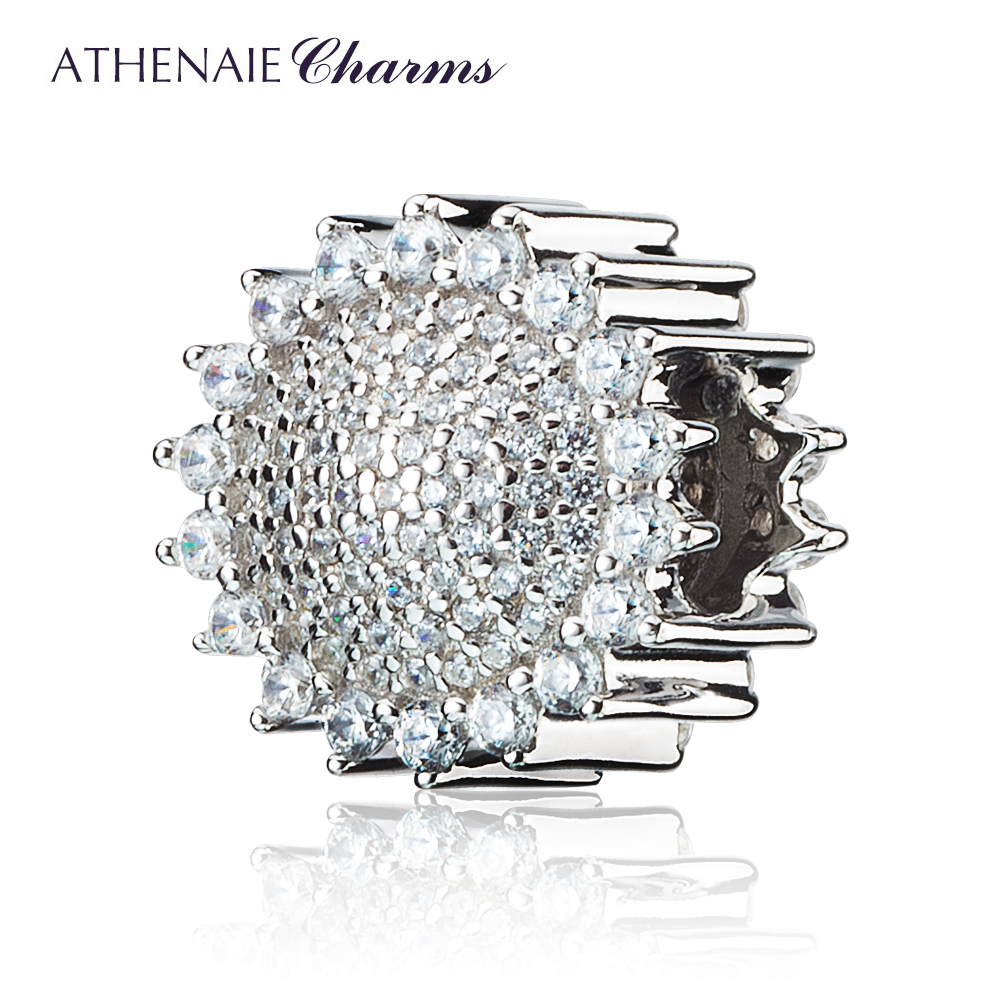 ATHENAIE 925 Sterling Silver Pave Clear CZ Sunflower Charm Bead Fit Original European Charms Bracelets and Necklace ATHENAIE 925 Sterling Silver Pave Clear CZ Sunflower Charm Bead Fit Original European Charms Bracelets and Necklace