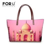 FORUDESIGNS Fashion Status of City Pattern Women Bags Luxury Designer Big Totes Crossbody Bag for Ladies Travel Shoulder Handbag