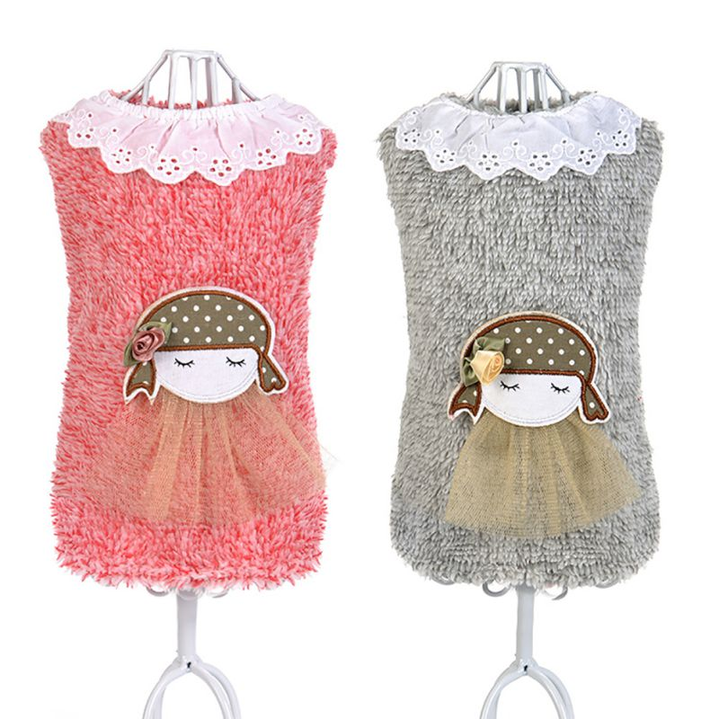 Pet Dog Warm Sweater Puppy Knitwear Clothes Winter Turtleneck Sweater with Lace Collar Doll Girl Design New Arrival D9440