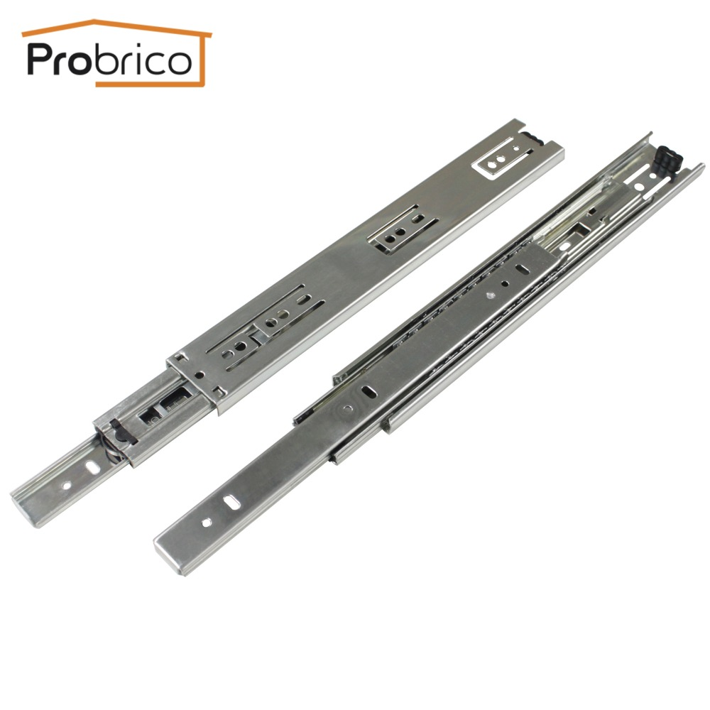 Probrico 1 Pair 12 Ball Bearing Drawer Slide Rail Kitchen Furniture Steel Full Extension Guide Glide Heavy Duty DSHH30-12 black hydraulic buffered rail track three drawer slide drawer slide ball bearing slide rail damping
