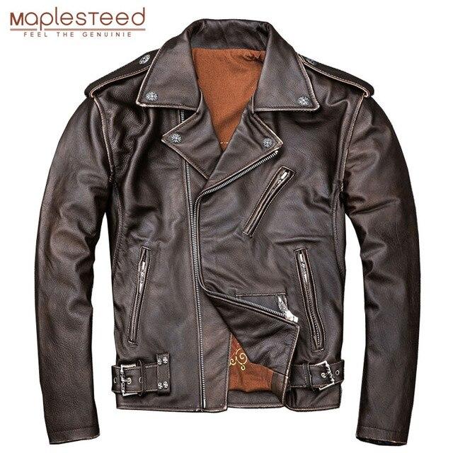 MAPLESTEED Brown Distressed Giacca Moto Da Uomo 100% Pelle di Vitello Classico Sottile Giacca di Pelle Uomo Moto Biker Cappotto di Inverno 5XL M190