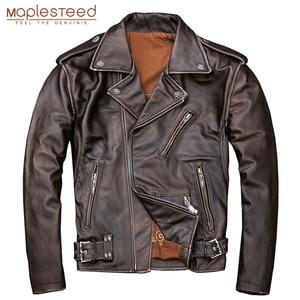 Image 1 - MAPLESTEED veste dhiver en cuir homme, classique, mince et mince, pour motard, marron, 5XL M190, 100%